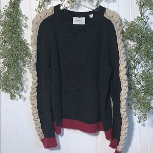 Anthropologie Sita Murt Braided Sleeve Sweater